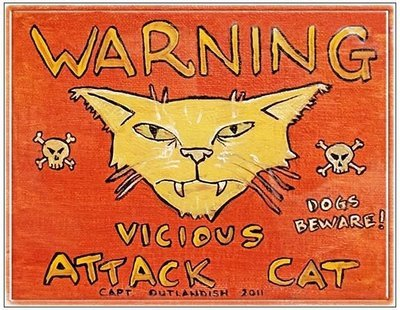 WARNING VICIOUS CAT * 8'' x  10''