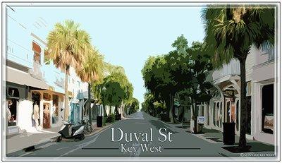 DUVAL ST STREET VIEW * 6'' x 11''