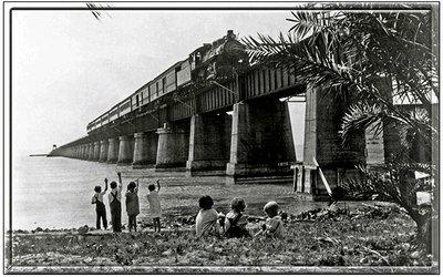 TRAIN ON BRIDGE WITH CHILDREN * 6'' x 11''