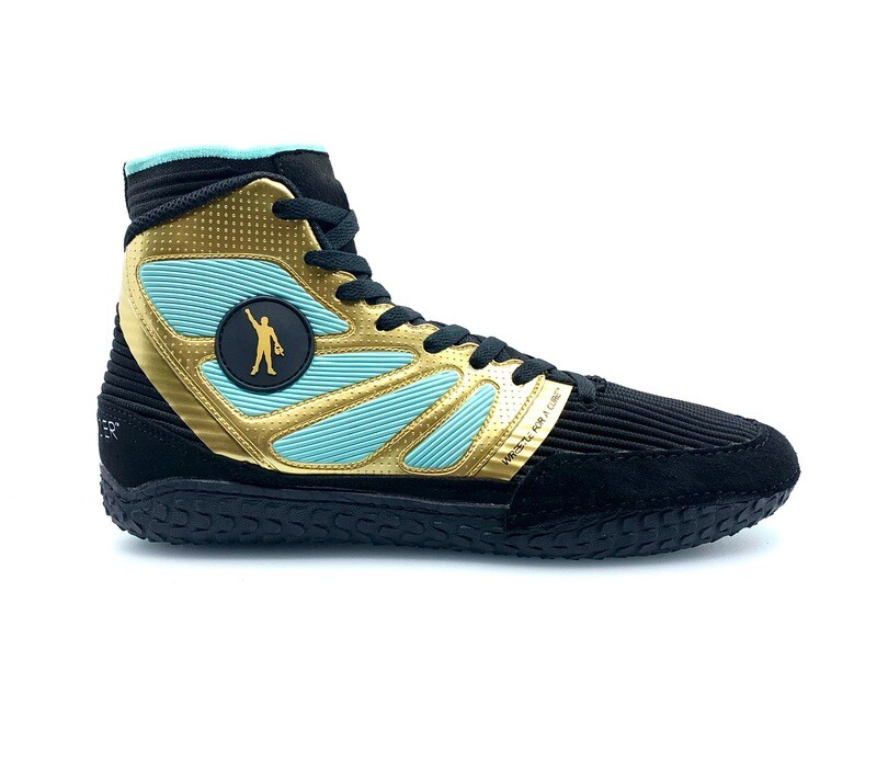 Gold/Teal Wrestle for a Cure Wrestling Shoe
