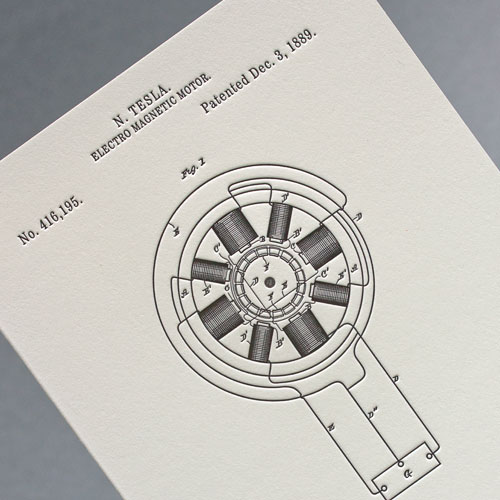 Открытка из серии «Патенты Николы Теслы», Electro Magnetic Motor