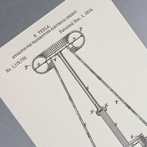 Открытка из серии «Патенты Николы Теслы», Apparatus For Transmitting Electrical Energy