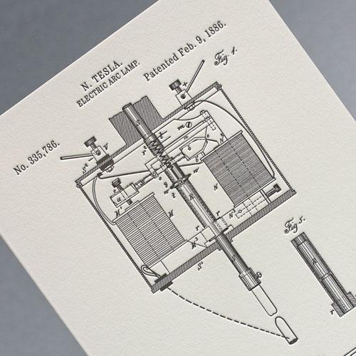 Открытка из серии «Патенты Николы Теслы», Electric Arc Lamp, fig. 1