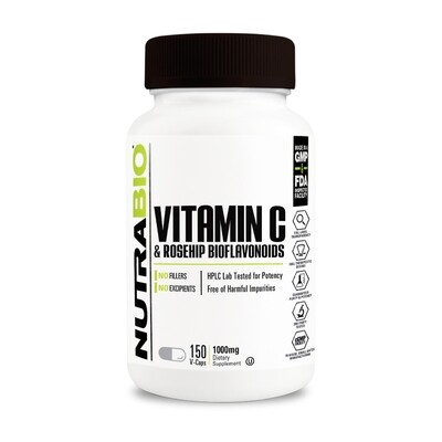 Nutrabio Vitamin C With Rose Hips - 150 Caps