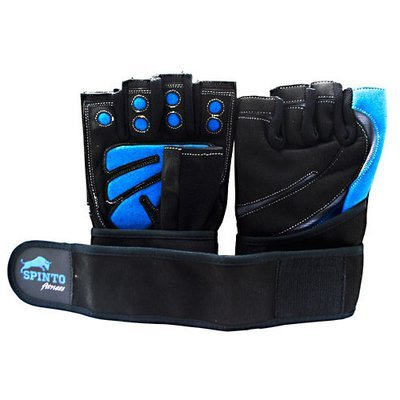 SPINTO MENS WORKOUT GLOVES W/ WRIST WRAPS - Large Blue