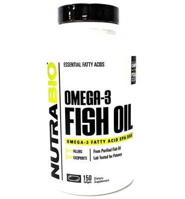 Nutrabio Omega 3 Fish Oil - 150 Softgels