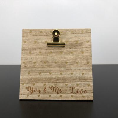 Wood Frame - Metal Clip Heart Dots