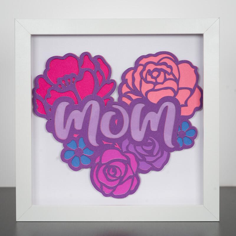 3D Paper Art Shadow Box - Mom