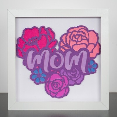 3D Paper Art Shadow Box - Mom