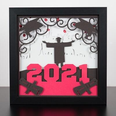 3D Paper Art Shadow Box - Graduation