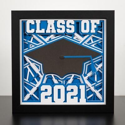 3D Paper Art Shadow Box - Graduation Cap