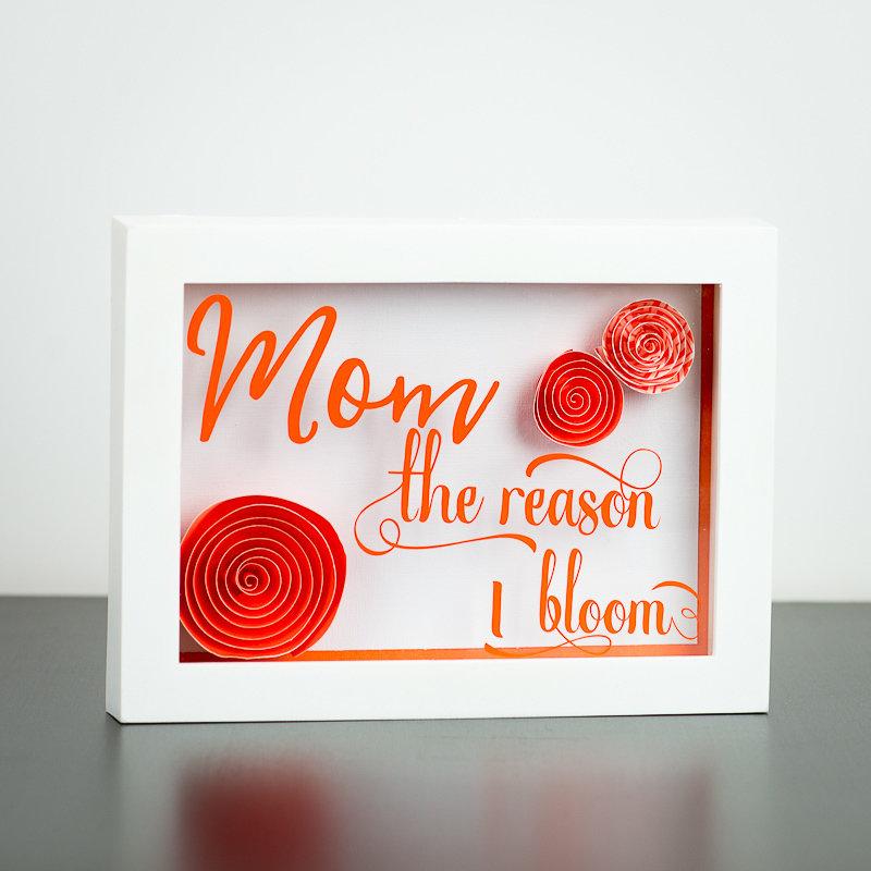 """Shadow Box - Mom The Reason I Bloom - Orange (5"""" x 7"""")"""