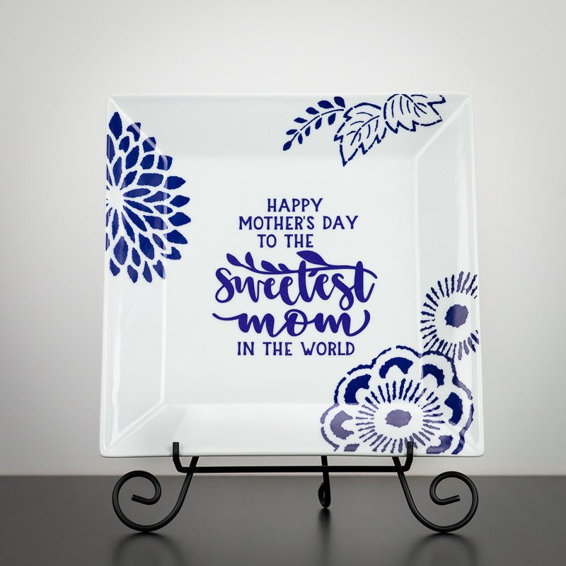 Plate - Decorative Ceramic Plate with Floral Design