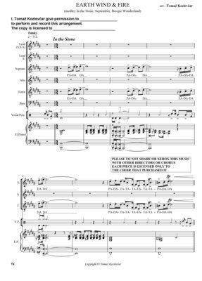 EARTH WIND & FIRE SSATB score, acapela funky medley of E.W.F.