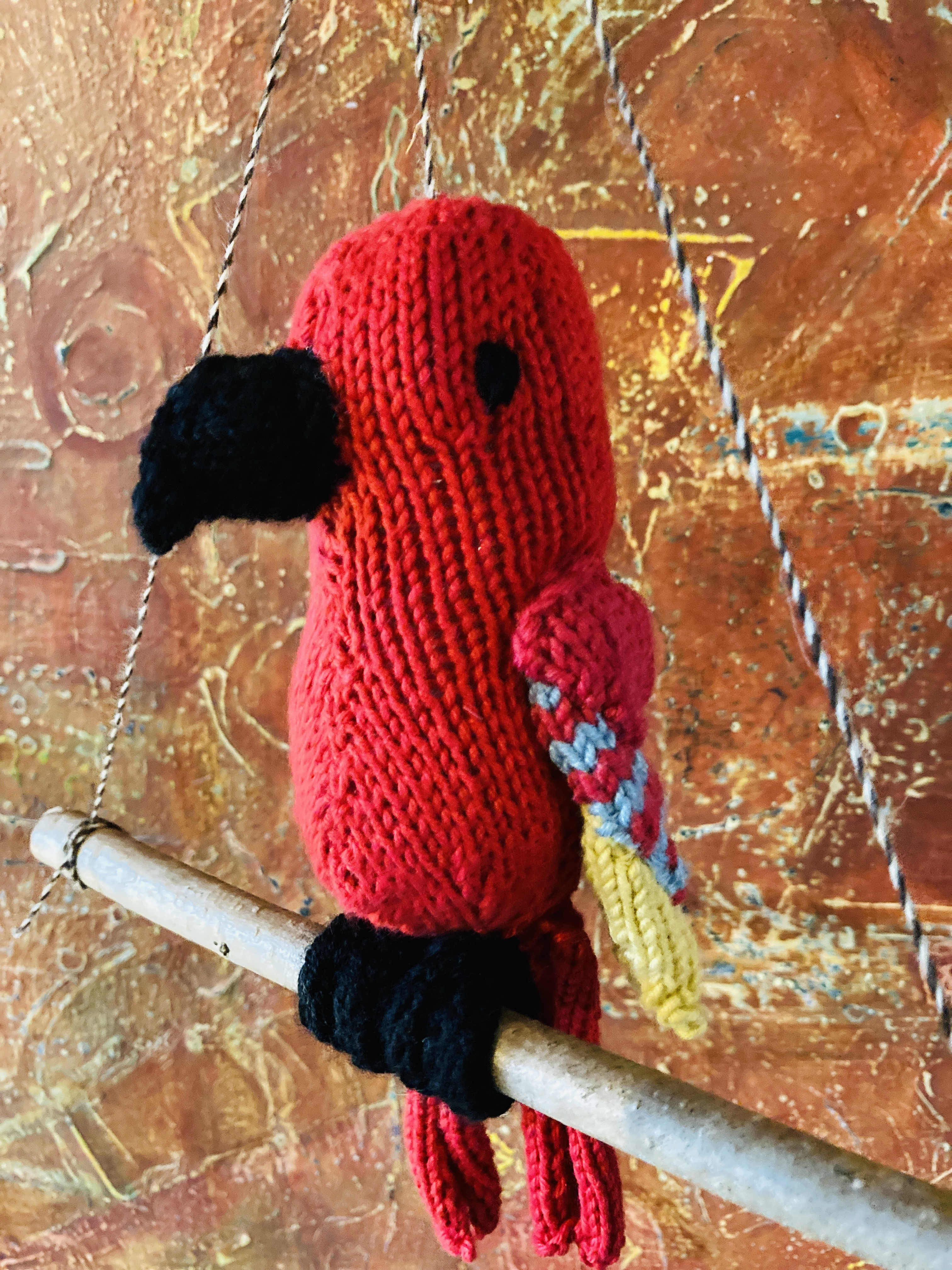 Handmade Knitted Parrots 00056