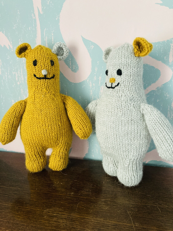 Handmade 'Hygge' Knitted Teddies - Mustard / Grey