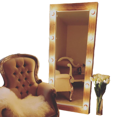 Rustic Recycled Wood LED Vanity Mirror