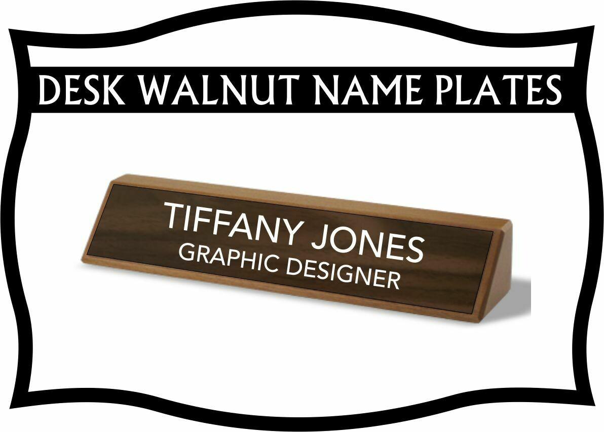 WALNUT DESK WEDGE NAME PLATE