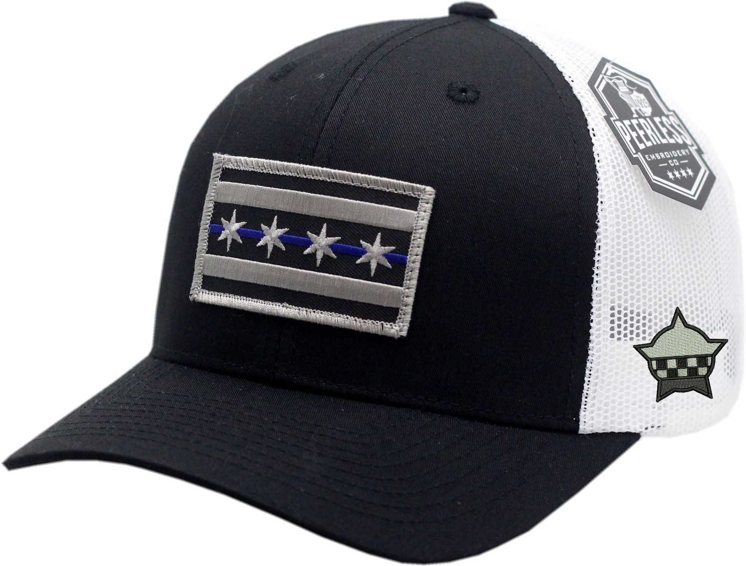 Chicago Flag Blue Line Trucker Mesh Snapback Black/White