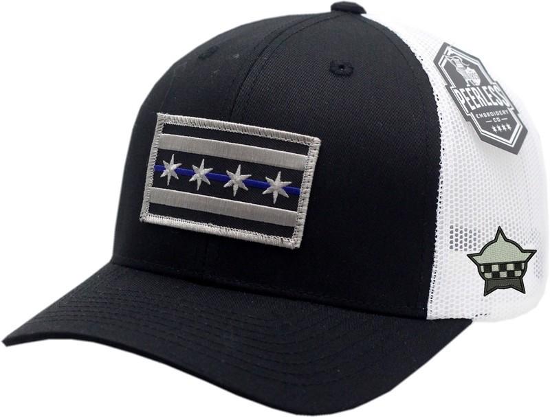 Chicago Flag Blue Line Trucker Mesh Snapback Black/White