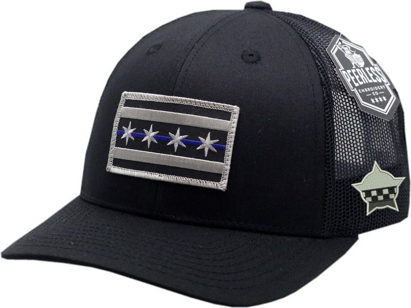 Chicago Flag Blue Line Trucker Mesh Snapback Black/Black