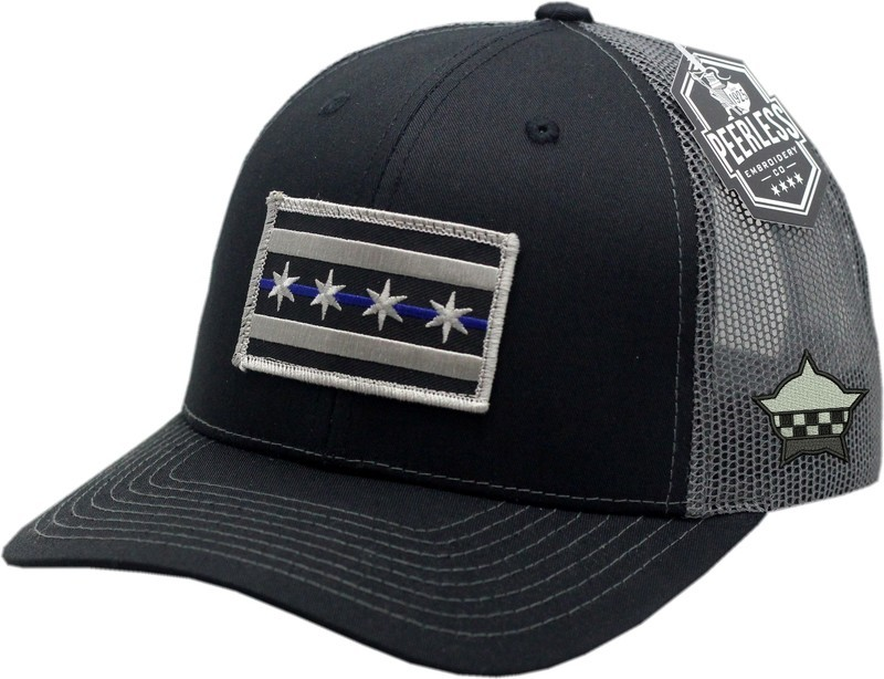 Chicago Flag Blue Line Trucker Mesh Snapback Charcoal/Black