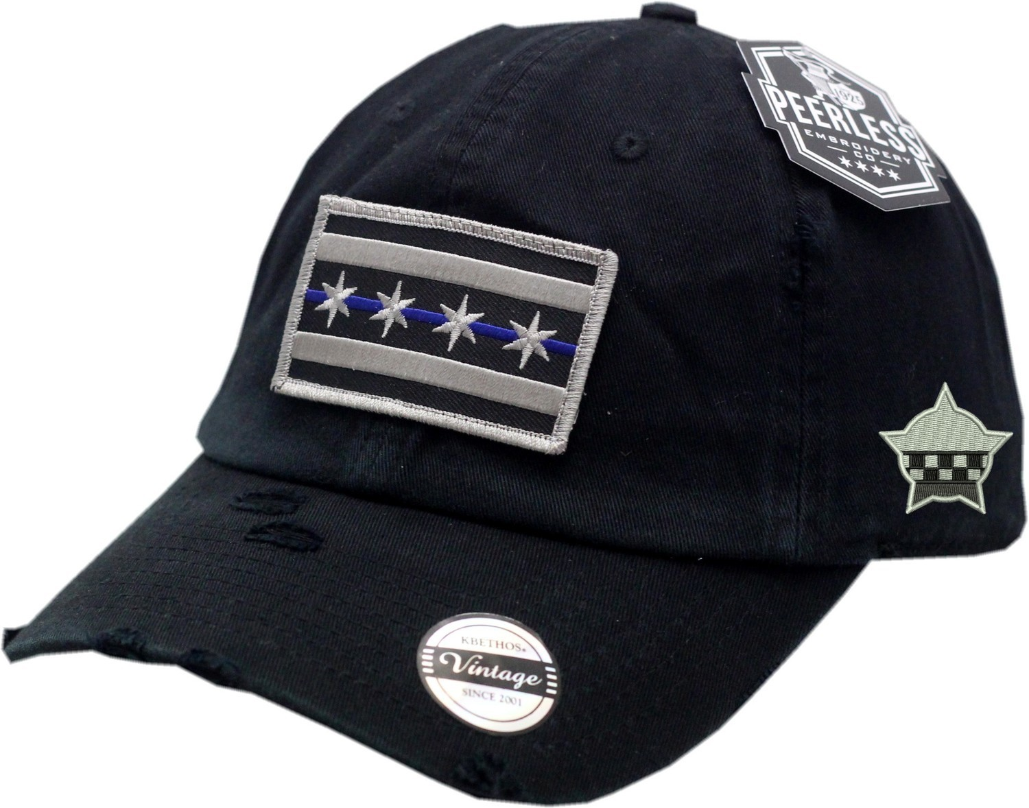 Chicago Flag Blue Line Vintage Hat Slouch Buckle Back