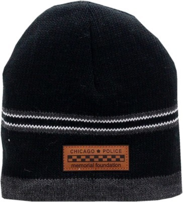 CPD Memorial Foundation Skull Knit Hat Line Bar Patch