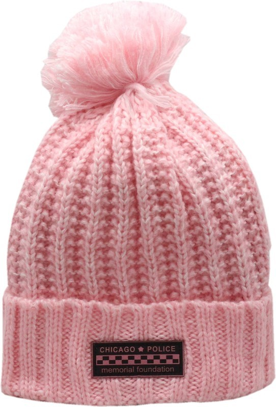 CPD Memorial Cuffed Pom Knit Hat Pink Bar Patch