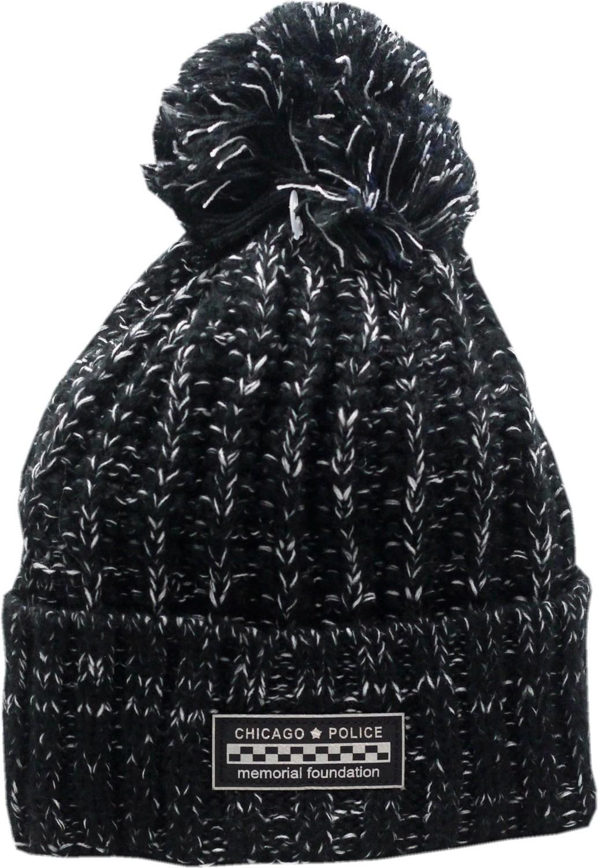 CPD Memorial Cuffed Pom Knit Hat Black/White Metallic Patch