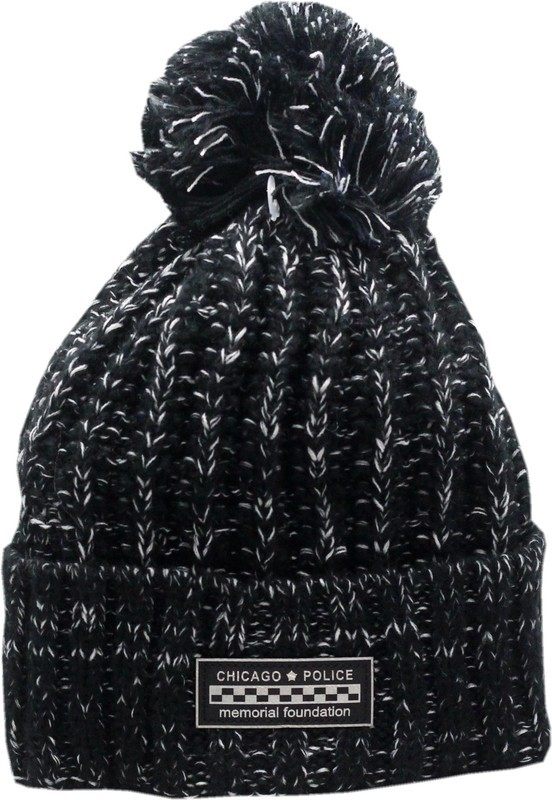 CPD Memorial Cuffed Pom Knit Hat Black/White Metallic Patch