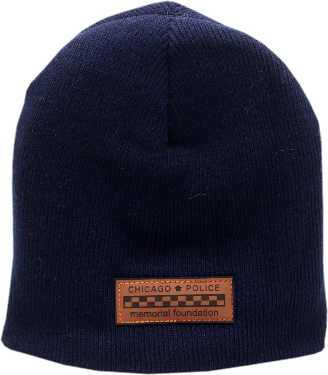 CPD Memorial Foundation Skull Knit Hat Bar Patch Navy