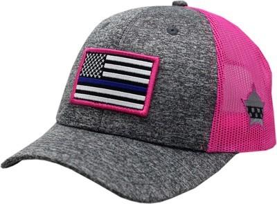 Blue Line Flag Snapback Trucker Mesh Charcoal/Pink 8964
