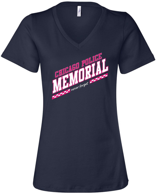 CPD Memorial Women's V-Neck Slanted Logo Navy