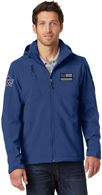 Eddie Bauer American Flag Blue Line W/Star Hooded Jacket Soft Shell Parka EB536