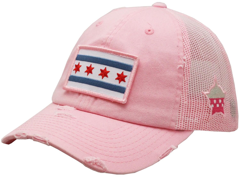 Chicago Flag Snapback Trucker Vintage Mesh Pink