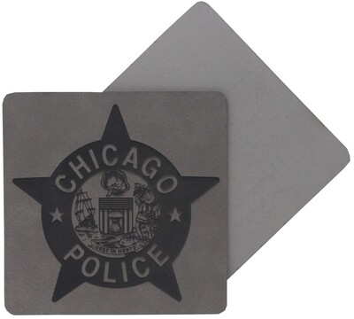 CPD Star Coaster 4 Pack Leatherette Grey