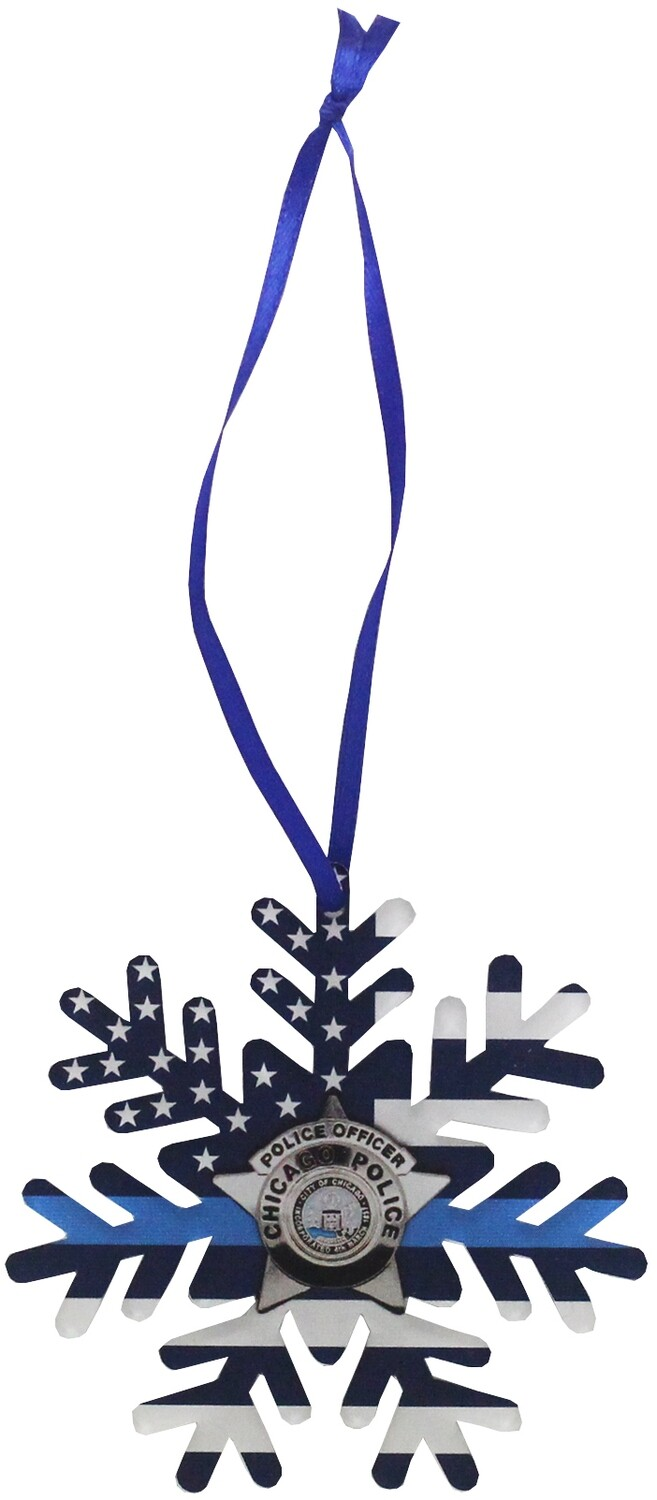 Blue Line Flag CPD Star Acrylic Ornament Snowflake