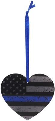 Blue Line Flag Heart Acrylic Ornament