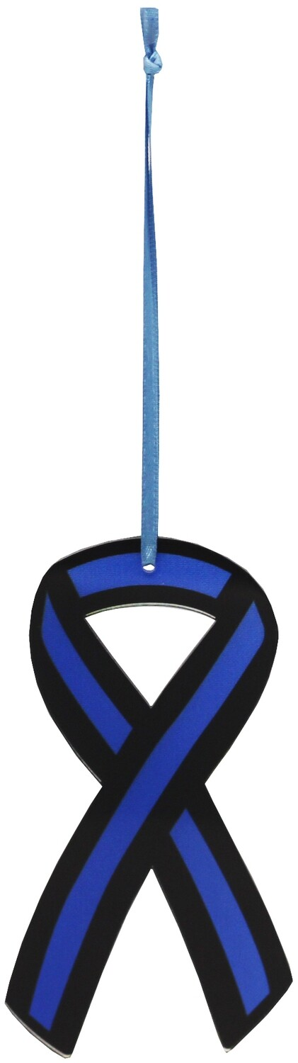 Blue Line Flag Ribbon Acrylic Ornament