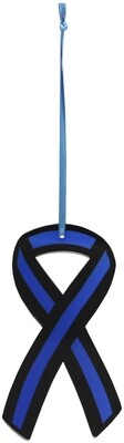 Blue Line Flag Ribbon Acrylic Ornament