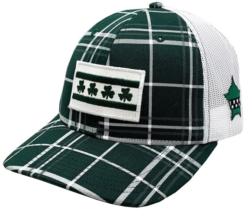 Irish Shamrock Chicago Flag Snapback Mesh Plaid Green/White