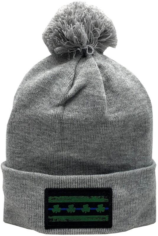 Blue Line Chicago Flag Shamrock Irish Cuffed Pom Knit Hat Grey