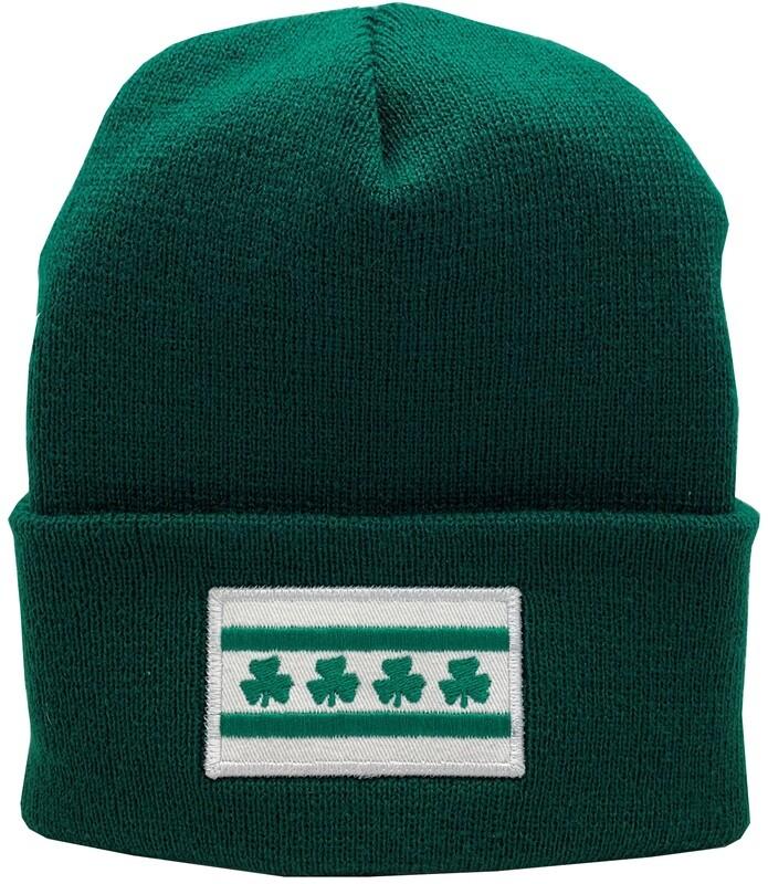 Chicago Flag Shamrock Irish Cuffed Knit Hat Sprouse