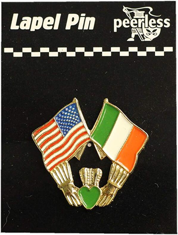 Irish American Flags Claddagh Lapel Pin