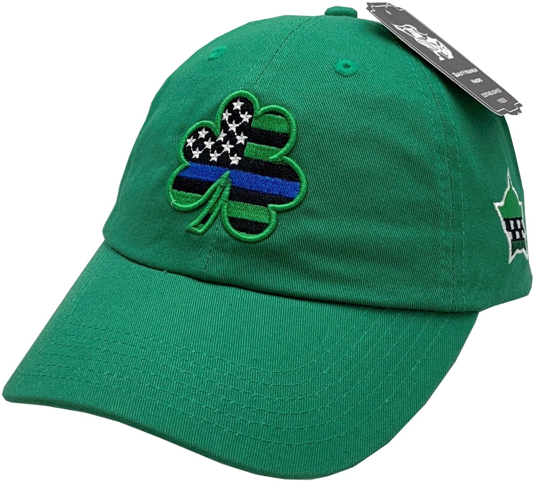 Blue Line Shamrock Hat Buckle Back Green