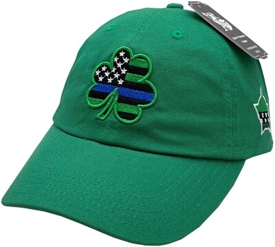 Blue Line Shamrock Hat Buckle Back Green