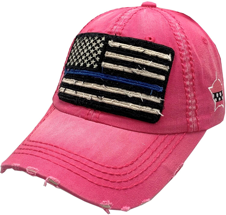Distressed Blue Line Flag Vintage Hat Buckle Back Pink