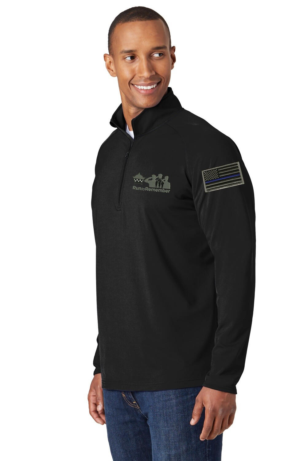 Run To Remember Blue Line Flag Sport-Wick® Stretch 1/2-Zip Pullover Black ST850