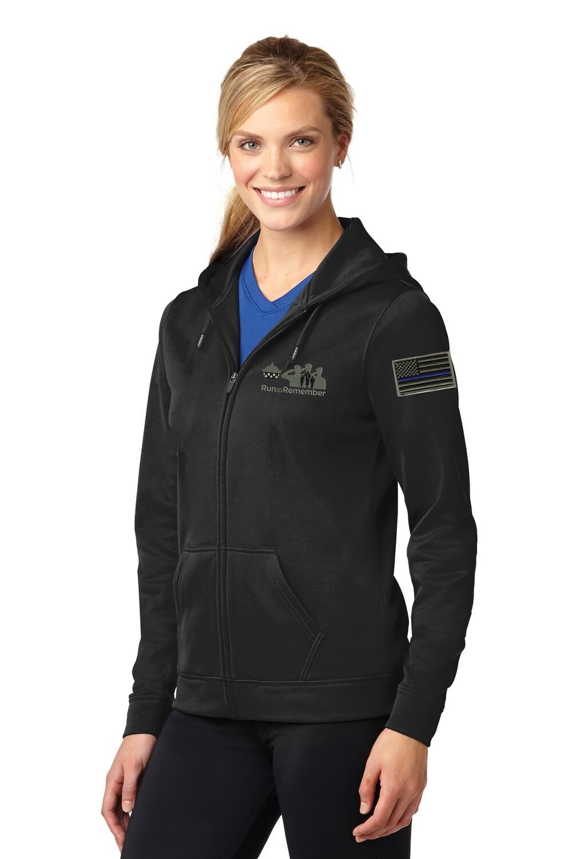 Run To Remember Blue Line Flag Ladies Sport-Wick Fleece Full-Zip Hooded Jacket LST238